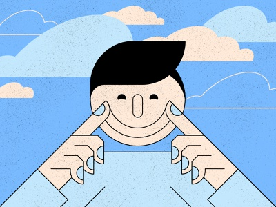 Faking character colour clouds smile face texture geometric illustration