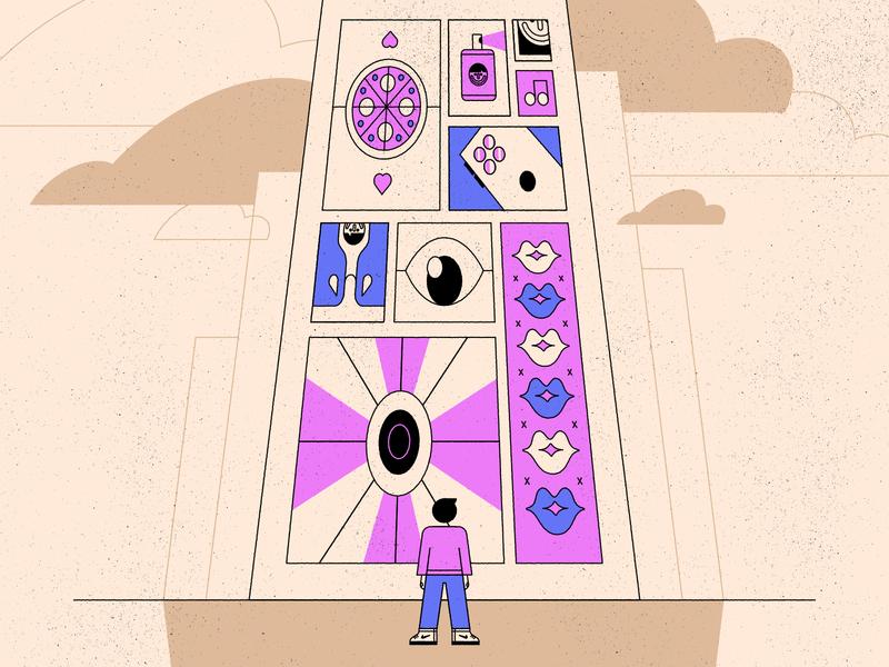 Ads person texture advert building geometric colour illustration