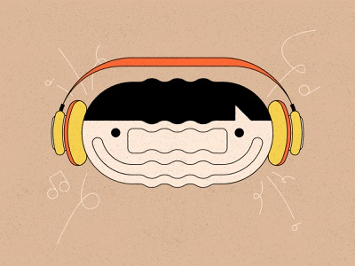 Music face geometric texture person headphones music illustration