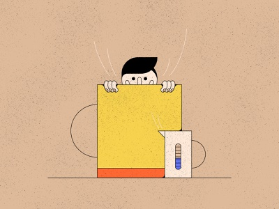 The Morning Dip morning coffee face editorial illustration geometric illustration