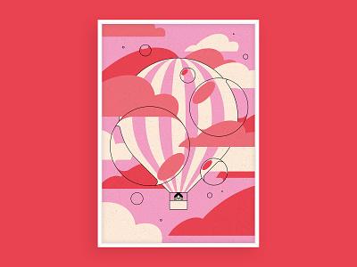 Adventure design geometric colour bubbles hot air ballon illustration print art print