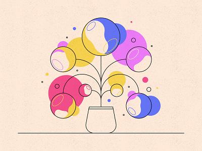 Bubble Flowers texture distortion colours plant bubbles flowers illustration