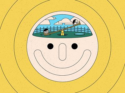 Mind 2 colour geometric freelance emotions mood mind animation illustration