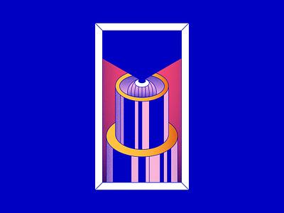 Peek a boo blue eye isometric geometric shape colour illustration