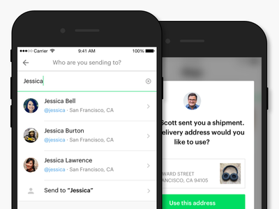 Shyp Address-Free Shipping product ui shipping search username ios rebrand