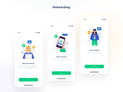 Edtech On-boarding Screens illustrations edtech onboarding screens app user inteface design user experince design ux ui