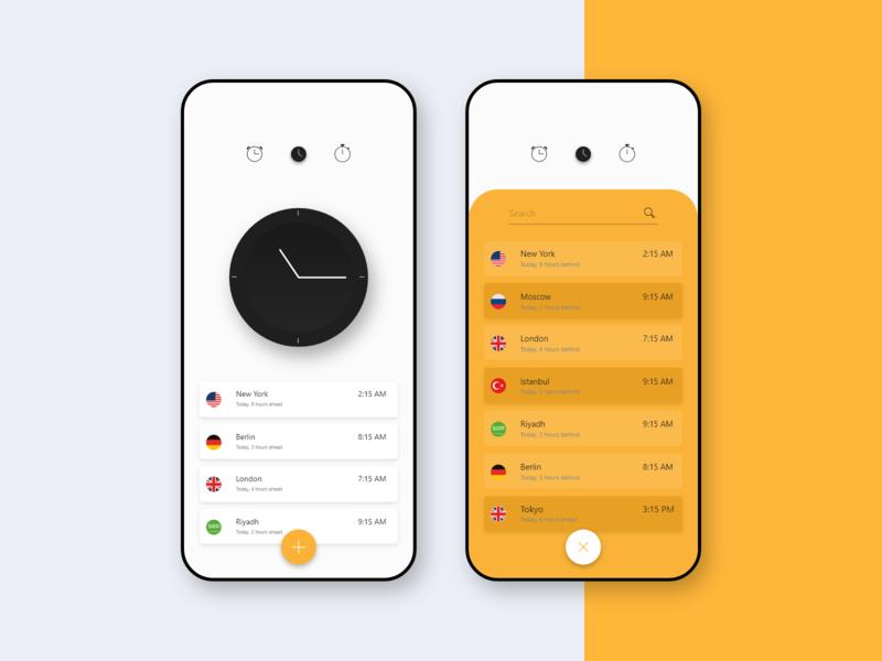 World Time App Concept black white yellow adobe user inteface design user experince design ux ui