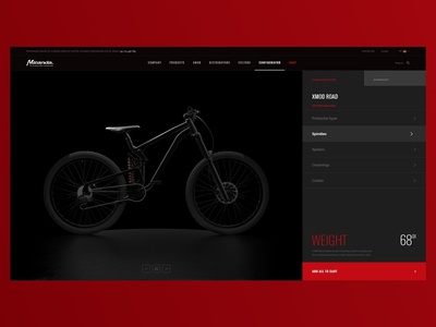 Parts Configurator interface . Miranda Bike Parts