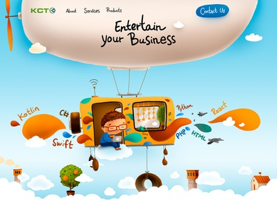 Developers website kids children character illustration web design website web