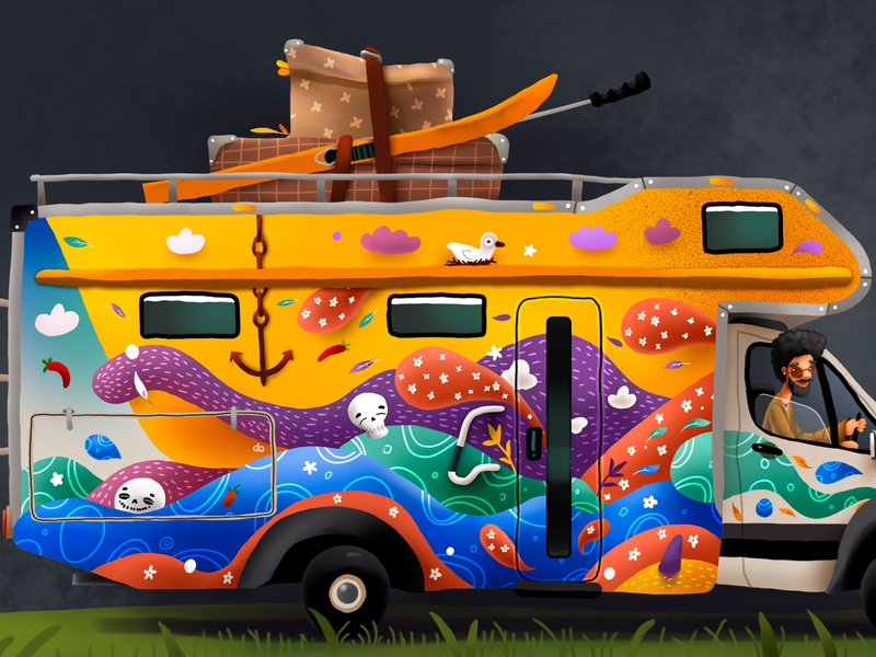 Camper Van right side beatles hippie car cartoon kids illustration