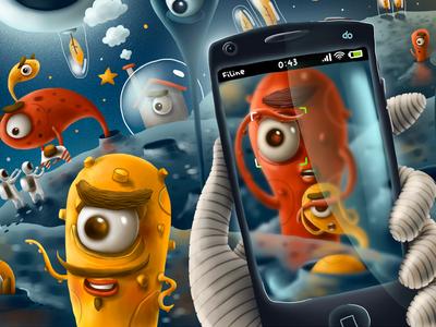 Mail.ru Facebook Cover illustration facebook mail.ru cover aliens alien space moon game tentacle mobile cartoon