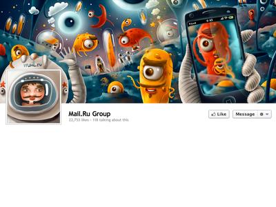 Mail.ru Facebook Cover Full illustration facebook mail.ru cover aliens alien space moon game tentacle mobile cartoon