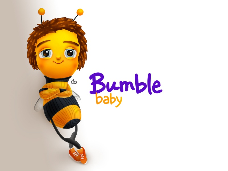 Bumble Baby Male Character humble bee cute smile love kids children cartoon cg character illustration
