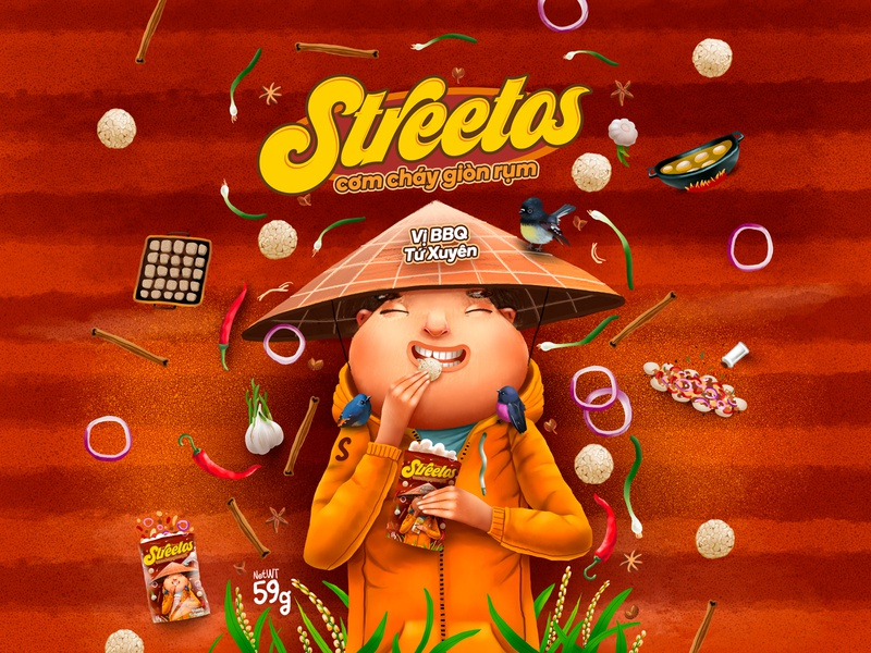 Streetos Package Design vietnam chips package kids children smile cartoon cg character illustration
