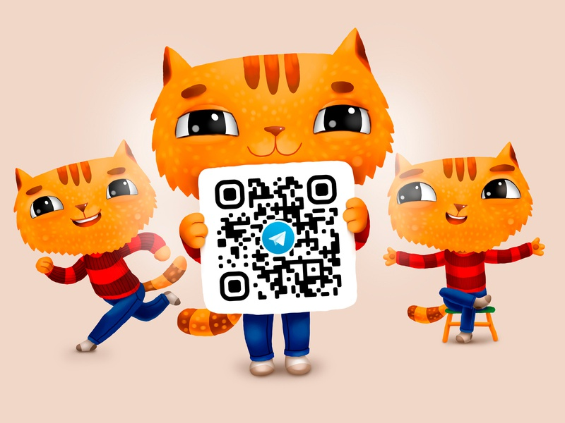 QR Cote for Davici mascot cat kids children cartoon cg character illustration