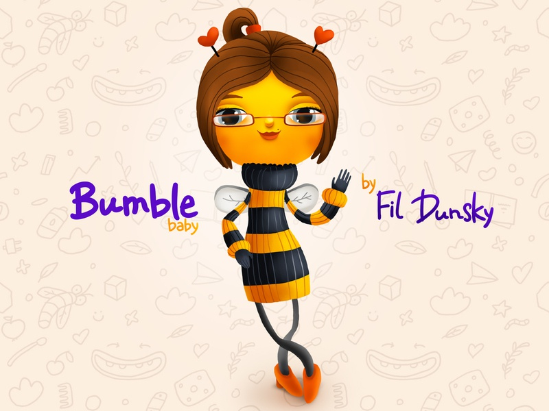 Bumble Bee female character design diapers woman kids children cartoon cg character illustration