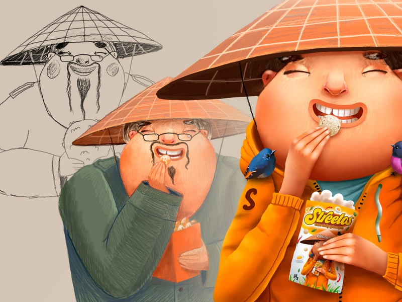 Streetos creation process with sketches package photoshop vietnam drawing process sketch smile kids children cartoon cg character illustration