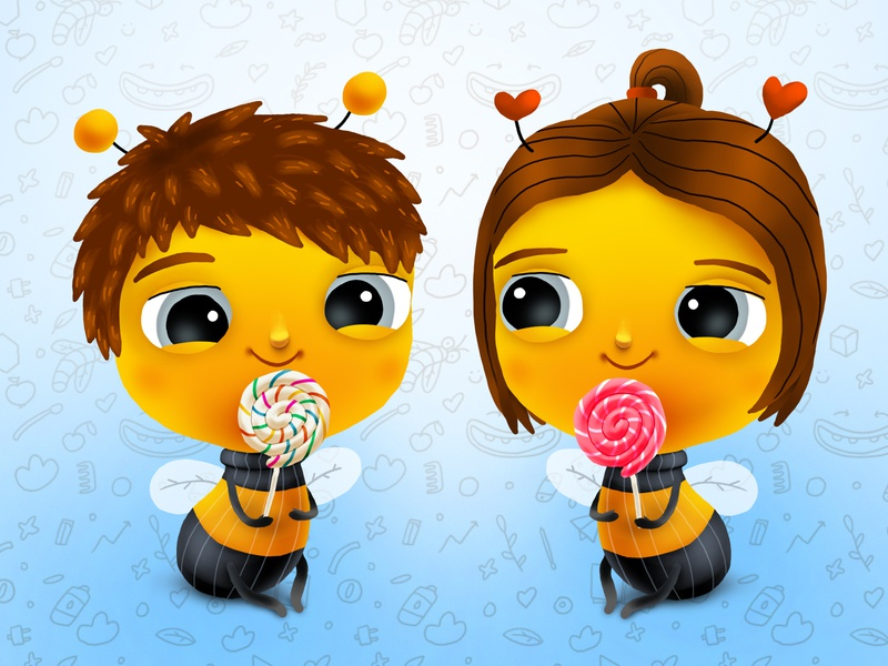 Bumble Baby Sugar Candy food candy bee friendship love smile kids children cartoon cg character illustration