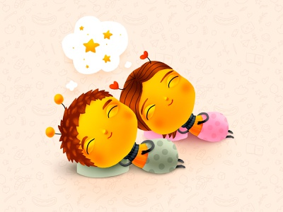 Bumble Baby dreams children cartoon advert bee calm smile dream sleep love kids character cg illustration diapers