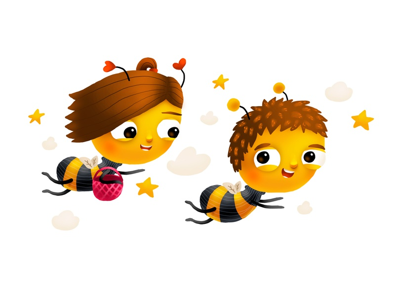 Bumble Babies Flying mascot brand bee love smile kids children cartoon cg character illustration