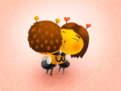 Bumble Baby Love hugs diapers bee couple love smile kids children cartoon cg character illustration