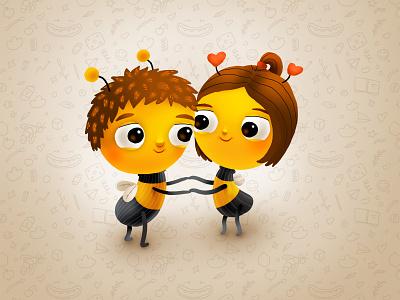 Bumble Baby friends love smile kids children cartoon cg character illustration