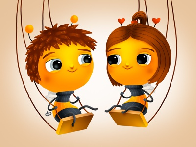 Playing Bees diapers bee love smile kids children cartoon cg character illustration
