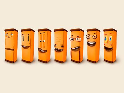 50 Fridges smile kids children cartoon cg character illustration