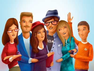 Ecency Welcome party people couples welcome cartoon cg character illustration