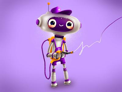 Shell Refueller fuel refueller shell robot oil smile kids children cartoon cg character illustration