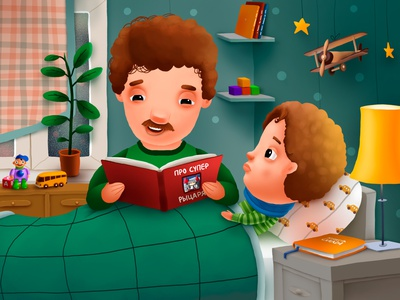 Father and Son animation advert drugs flu cold sick pills father kids children cartoon cg character illustration