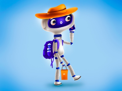 Went travelling again trip road traveller travel robot kids children cartoon cg character illustration