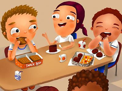 Brazillian stories friends lunchbox lunch school brake kitchen food eat kid children kids book
