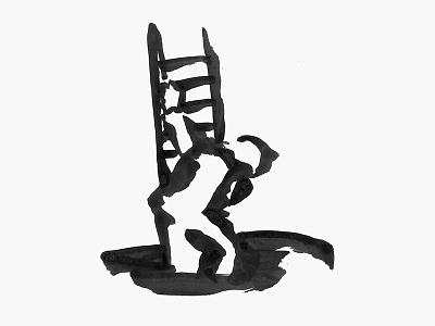 Descent descending ladder simple painting brush ink