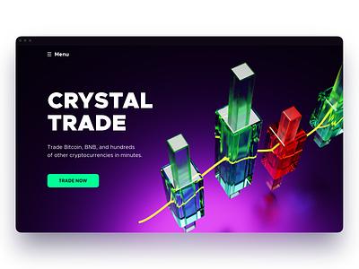 Crystal Trade 3d art blender 3d blender 3d dark colors bitcoin crypto web app sketch ui design