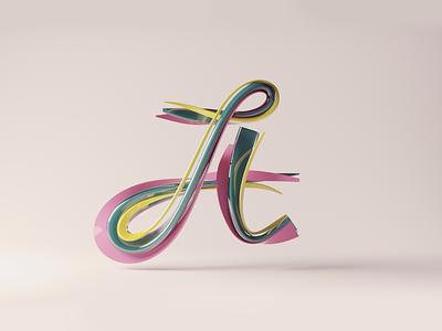 A lettering abstract calligraphy lettering render blender 3d illustration
