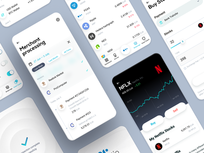 Platio App. Smart Wallet wallet stocks table withdraw bitcoin banking crypto application app ux sketch ui design