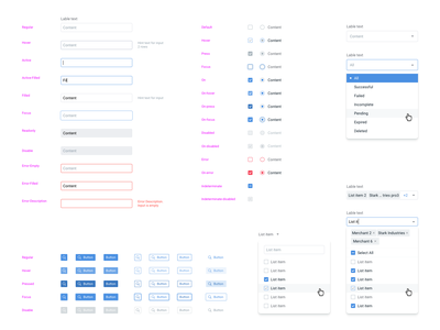 UI kit for design system radiobutton select checkbox inputs buttons design system guidelines app application web ux sketch ui design