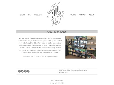 Chop Salon & Spa - Website Re-Design grid layout grid design html css design clean design website responsive website web design