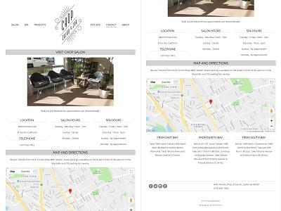 Chop Salon & Spa - Website Re-Design Details google map html css grid design grid layout graphic design clean design website responsive website web design