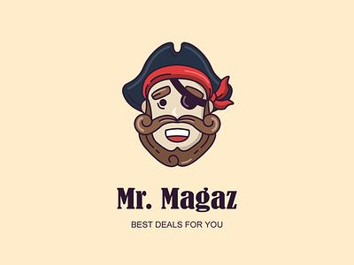 Logo for a «Mr. Magaz» company  games pirate company design shop branding logo