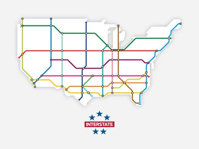 Interstates as Subway Map (Simplified)