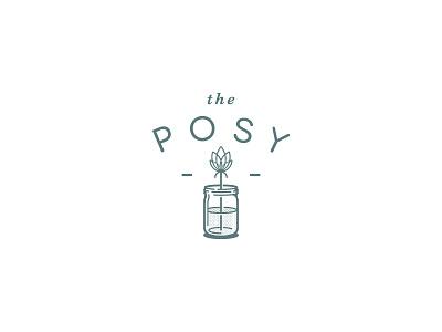 The Posy mason jar flower logo jar flower emblem seal badge lockup logo