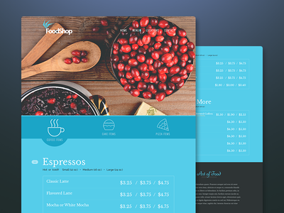 FoodShop shop store ui clean interface ux flat ecommerce restaurant food coffee food menu