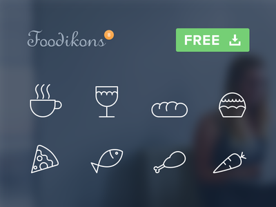 Foodikons vector free icons food cup wine bread cake pizza fish chicken carrot