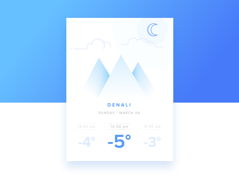 Day 5 - Weather interface interaction illustration icons app challenge mountain cloud moon design daily ui weather