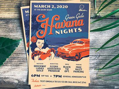 Havana Nights Gala Invitation illustration cuban gala invitation cuba havana nights