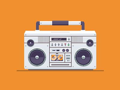 Boombox vector tape stereo radio illustration icon baster ghetto boombox