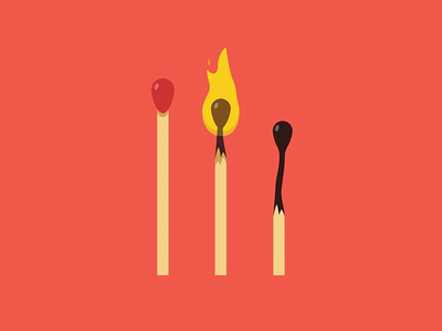 The Life of a Match texture character icon design vector illustration timeline life fire match