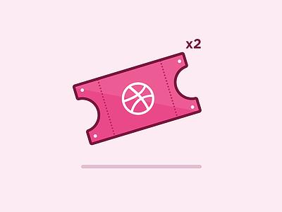 x2 Dribbble Invites texture logo icon vector illustration design invite shoot first shot debut ticket draft dribbble
